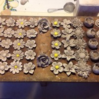 bone china flowers drying in rack