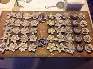 china flowers in rack