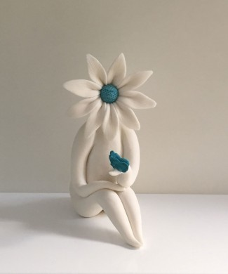 Turquoise Lady Daisy with Butterfuly