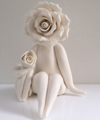 Rose lady with dog figurine