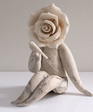 Rose flower lady with bird