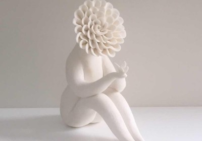 Lady Dahlia flower people sculpture