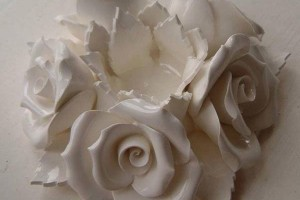 Rose bone china flower candle holder