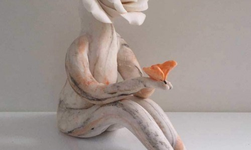 Rose flower lady with butterfly- Rose Sculpture
