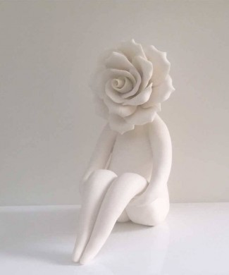 Rose flower lady sculpture
