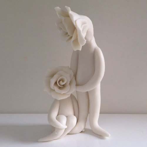 Couple Sculpture - Ceramic Flowers