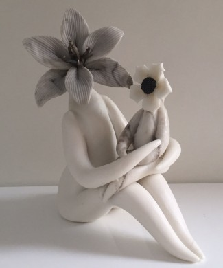 Lilly Flower Mum & baby ceramic sculpture
