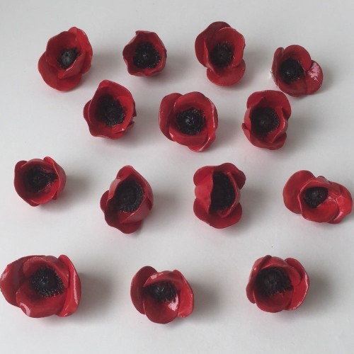 Hanmade Ceramic Poppy Brooches