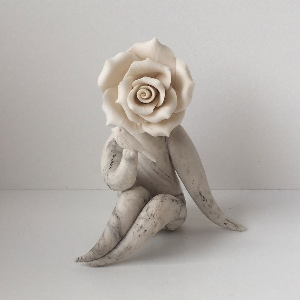 Lady rose with bird - Flower people sculptures