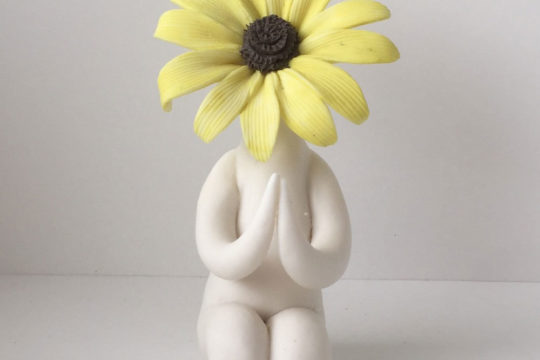 Preying Black-eyed Susan Flower People Sculpture