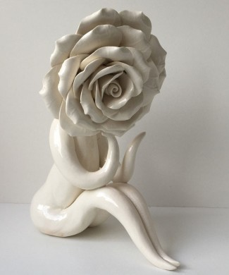 mrs big head rose ceramic sculpture