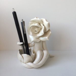 Mrs Rose Pen Holder Sculpture