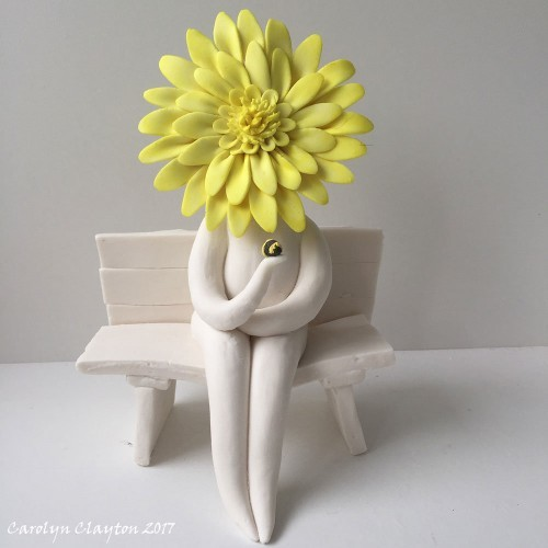 yellow Gerbera Flower Lady Sculpture