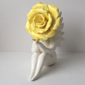 Yellow Angel Rose Flower Sculpture