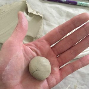 Ball of clay for daffodil petals