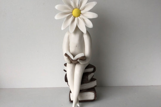 Flower Sculpture Daisy Lady Reading Book