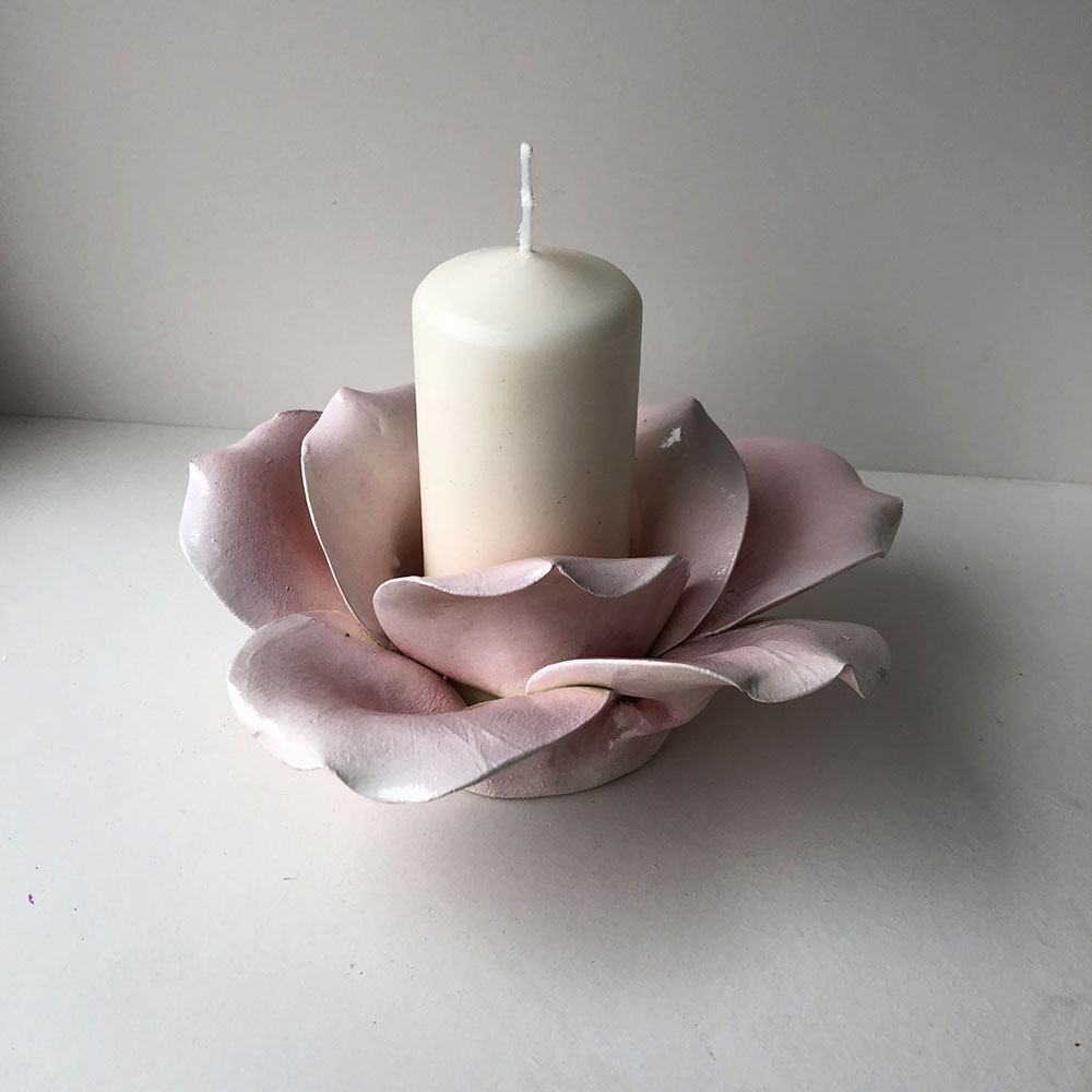 Large Rose Candle Holder Ceramic