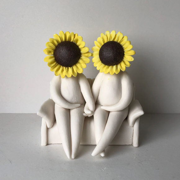 Mr and Mrs Sunflower - ceramic flower sculpture figurine