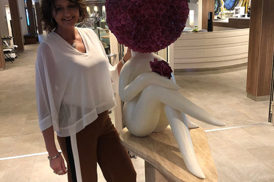 Carolyn Clayton with Miss Hydrangea on Royal Carribean Symphony of the Seas - Heidi