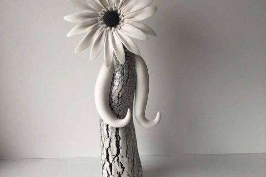 Ring holder, flower lady ceramic sculpture
