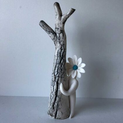 Turquoise Daisy Lady by Tree - Jewellery Stand