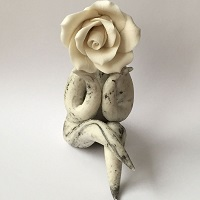 Lady Rose Contemplating - Ceramic Sculpture - Handmade Pottery Figurine
