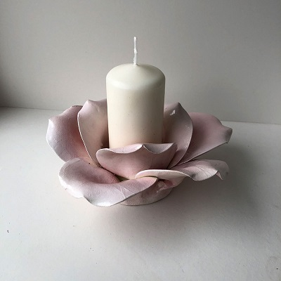 Handmade Large Rose Candle Holder Ceramic