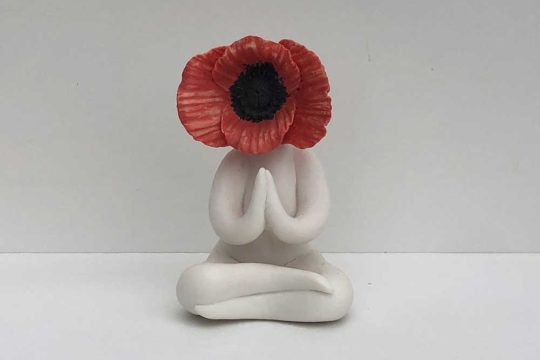 Miss Praying Poppy Surreal Flower Sculpture Pottery