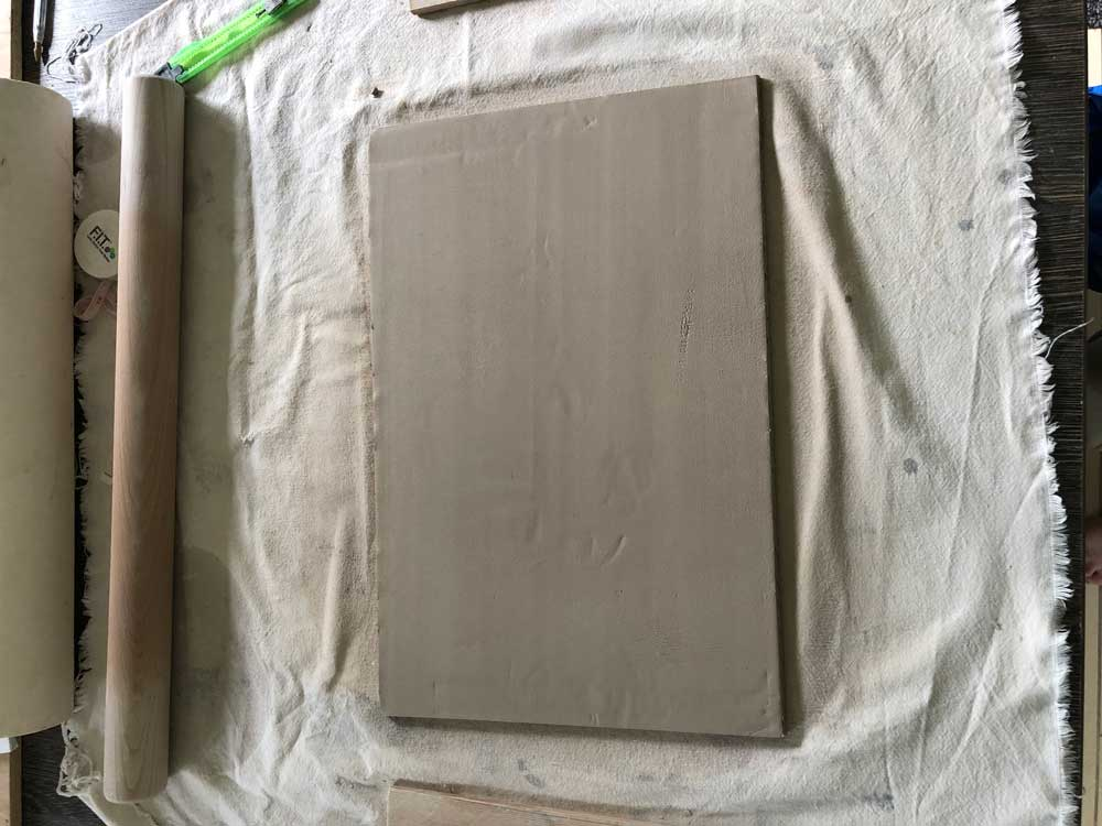 hand rolled slab of clay