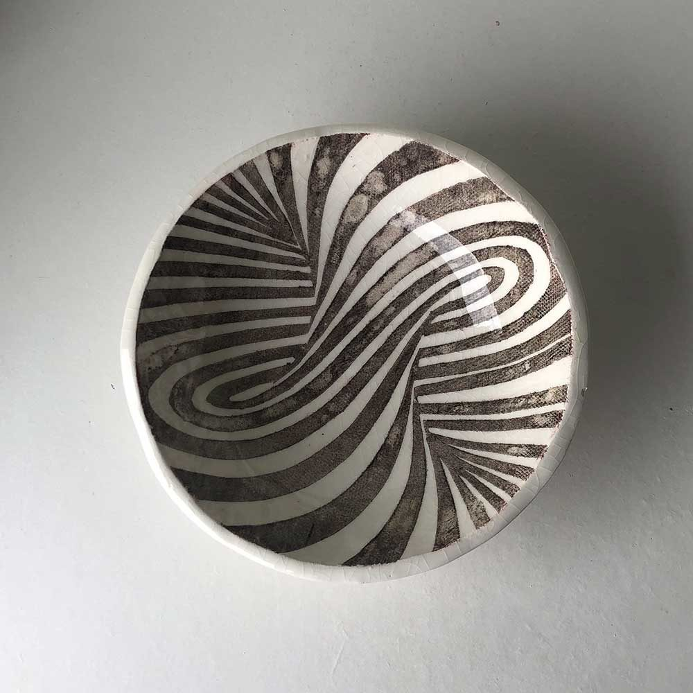 Glazed Screen Printed Pottery Bowl